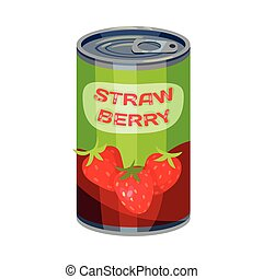 High round tin can with strawberries. Vector illustration on white background.
