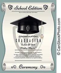High school academic concept with graduation cap. Congratulations vector background