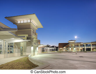 High School at Night in Florida