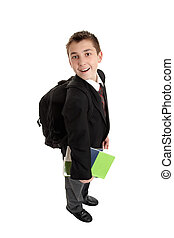 High School boy carrying bag and books