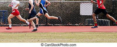 High School Boys racing the mile