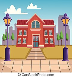 High school building cartoon vector illustration graphic...