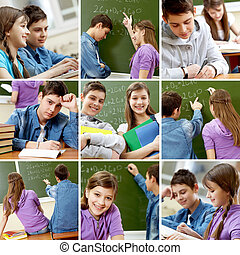 High school  - Collage of images with teenagers in school