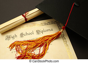 High School Diploma - A high school diploma and mortarboard...
