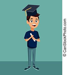 High school education cartoon - Young student in high school...