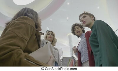 High school girls at the mall enjoying christmas vacation...