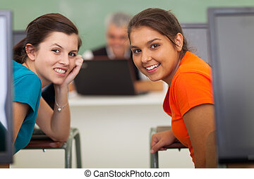 high school girls in computer class - cute high school girls...