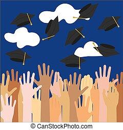 high school graduation.vector illustration
