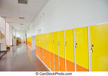 student lockers - High School hallway showing yellow student...
