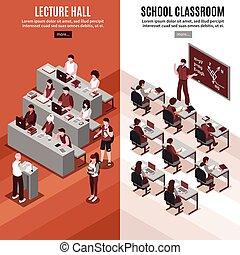 High School Isometric Vertical Banners - High school 2...
