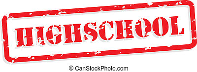 High School Rubber Stamp Vector - High school red rubber...
