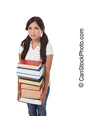 High school schoolgirl student with stack books