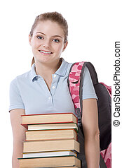 High school schoolgirl student with stack of books
