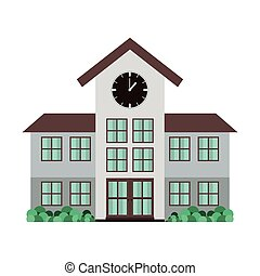 high school structure with clock vector illustration
