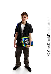 High school student carrying books and equipment. White...