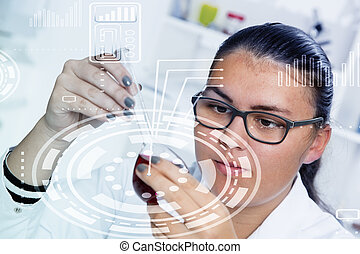 High School student. Student working at laboratory class