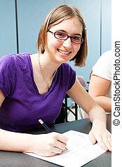 High School Student Taking Standardized Test