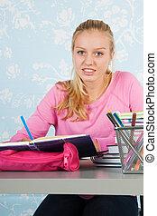 High school student with homework