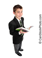 High school student with text book