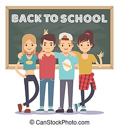 High school students and chalkboard - back to school concept