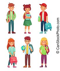 High school students. Kids pupils with globe, books and backpack. Schools boy and girl pupil characters vector set