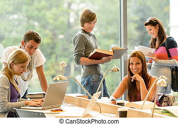 High-school students learning in study teens young education...