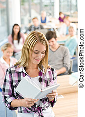 High school students - woman with book