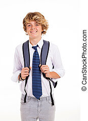 high school teen boy portrait isolated