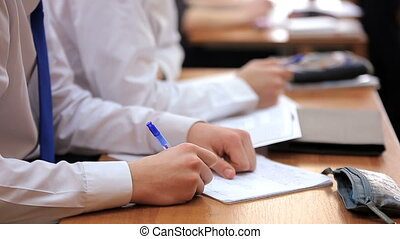 High school teenage students at the desk