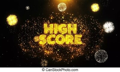 High Score Text on Firework Display Explosion Particles. Sale, Discount Price, Off Deals, Offer promotion offer percent discount ads 4K Loop Animation.