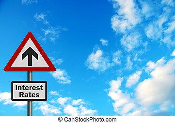 high\', \'sky, financier, intérêt, espace, photo, voile de surface, politique, /, rates., series:, réaliste, éditorial, texte, concepts, ton