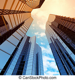 Bottom view of modern skyscraper. Business district