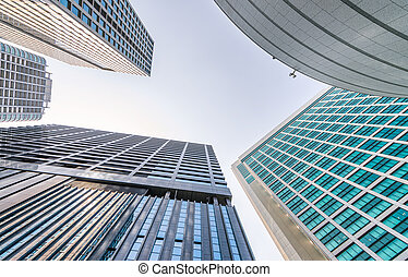 High skyscrapers of Shinjuku, Tokyo. View from the street,...