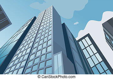 High skyscrapers on a background of the blue sky