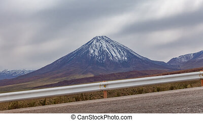 High slope road and Licancabur volcano time lapse in...