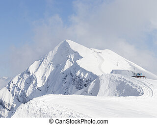 High snow peaks in the mountains of Sochi
