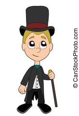 High society boy cartoon - High society kid illustration...