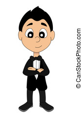 High society boy cartoon - Illustration of a confident young...