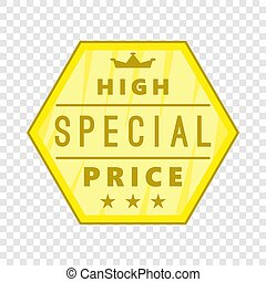 High special price label icon, cartoon style