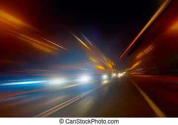high-speed, bevægelse, nat hos