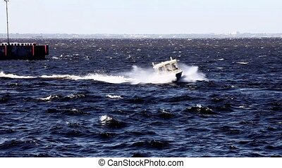 high speed boat - powerboat moving at high speed sequence