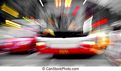 High speed bus radiant rays gives the forceful effect of visual impact