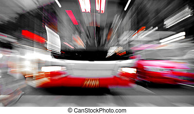High speed bus radiant rays gives the forceful effect of...