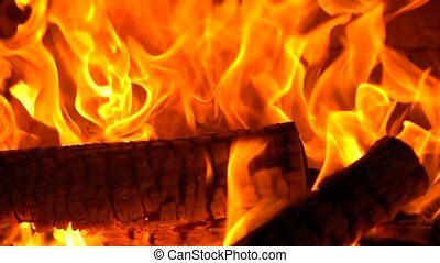 High speed camera close up shot of burning firewood clip