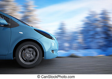 high speed car on a background winter landscape
