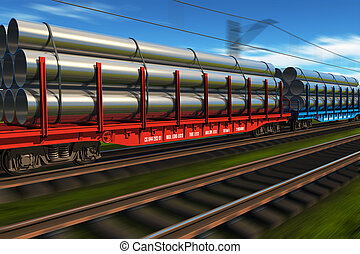 High speed freight train with metal pipes