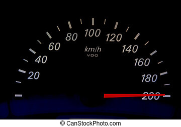 High Speed - High speed on an automobile speedometer. Races