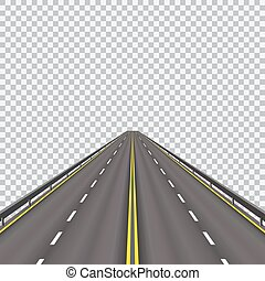 High-speed highway in the future. Isolated on a checkered background. illustration