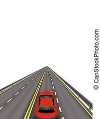 High-speed highway. Red cars on the road . In perspective. Isolated on white background. illustration
