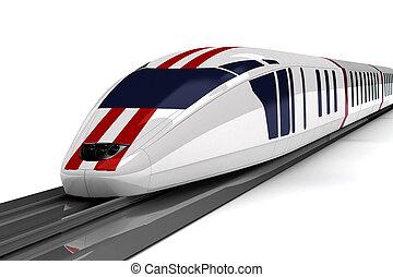high-speed, hvid, tog, baggrund